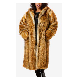 Roaman's Long Faux Mink Fur Hooded Coat 14/16